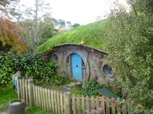 Hobbiton movie set near Matamata in the North Island of New Zealand