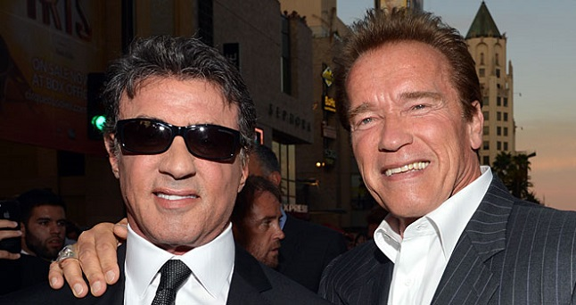 Celebrities over 60 are breaking the movie scene like Sylvester Stallone, Arnold Schwarzenegger and others. Credit: moviefone.com