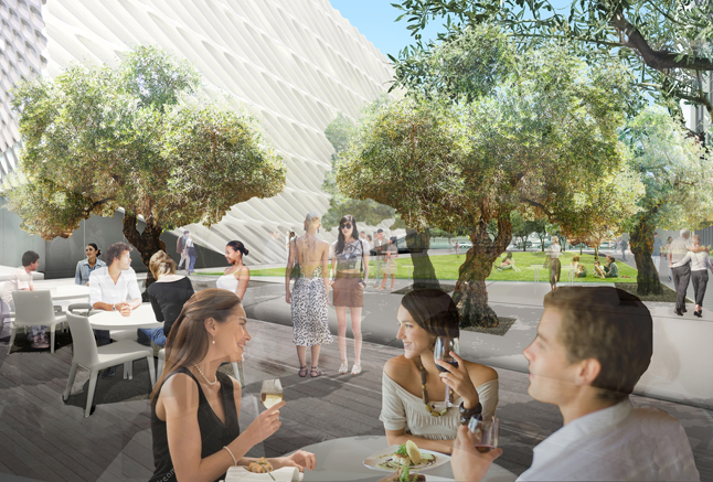 The plaza view from the restaurant; image courtesy of The Broad and Diller Scofidio + Renfro