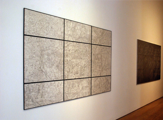 View of one of the maps of Milan by Elisabeth Scherffig on display at Faggionato Gallery