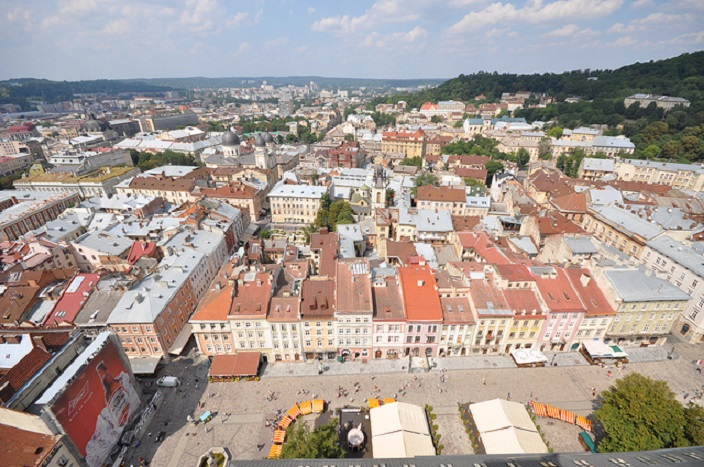 View of the northern side of Lviv Market Square from the Clock Tower's Town Hall credit@Jorge Láscar via flickr.com https://creativecommons.org/licenses/by/2.0/