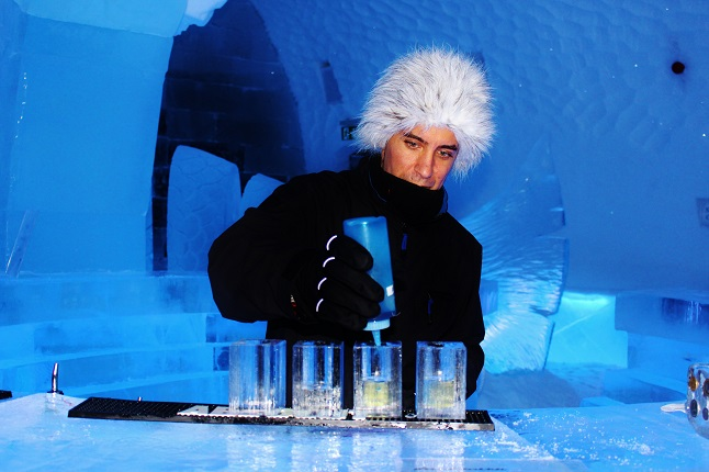 Drinks served in ice glasses in the Ice Bar. credit@gemma_IceBar.