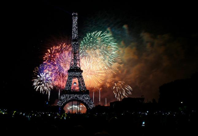 Paris fireworks on Bastille day credit@marcia taylor via flickr.com