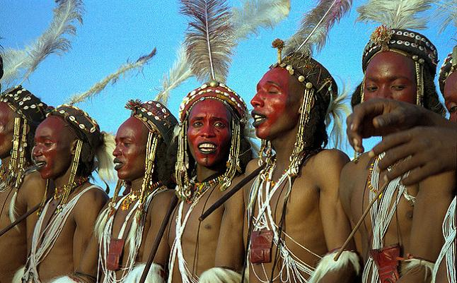 The traditional costume and face paint of the Gerewol pageant. Credit@ Dan Lundberg via Flickr.com