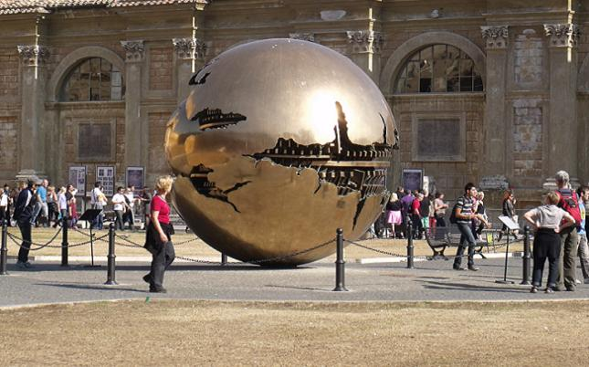 Sphere within a sphere, Italian metal sculpture within the Vatican courtyard. Credit@ Lianne Cassidy