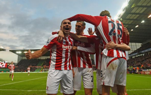 Stoke celebrate their victory. credit@stokecity via Twitter
