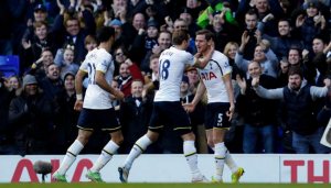 Vertonghen celebrates his first goal. credit@SpursOfficial via Twitter