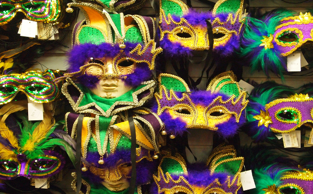 Masquerade masks with the traditional Mardi Gras colours. Credit@shreveportbossierviaflickr.com
