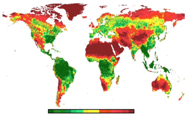 Green areas have the highest uptake of carbon dioxide from the atmosphere; red have the least. Schimel's team found that tropical forests were responsible for about 60% of global uptake and worldwide forests accounted for about a third of fossil fuel emissions. Credit@DavidSchimel