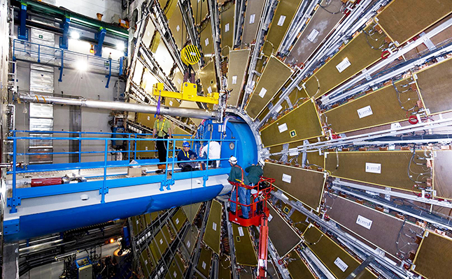 Pipe installation at the Large Hadron Collider (LHC). Credit@ArsElectronica
