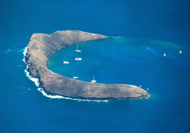 Great area for whales to be seen. Molokini from the air. Maui,Hawaii.Credit@Gouldy99viaflickr.com