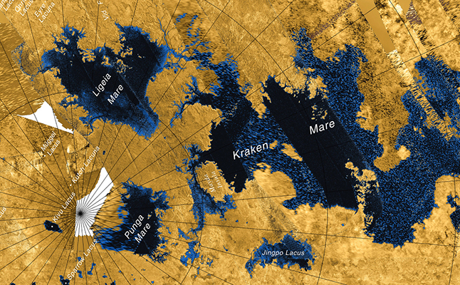 A joint study by the European Space Agency and NASA discovered lakes on the surface of Saturn's moon Titan caused by rainfall. Credit@NASA/JPL-Caltech