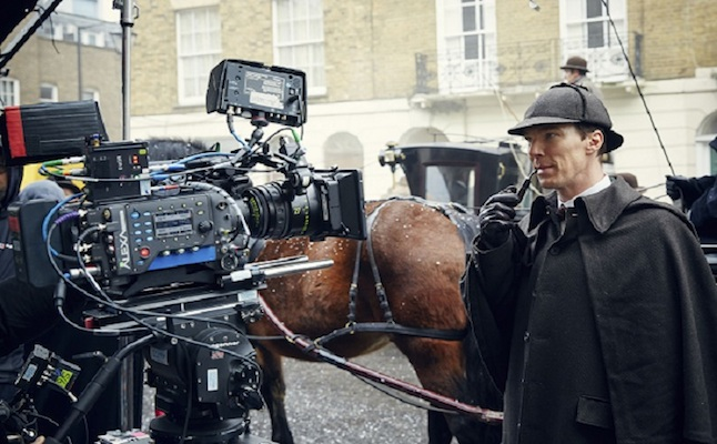Behind the scenes Sherlock Holmes ( Benedict Cumberbatch) Credit@ Hartswood Films - Photographer: Robert Viglasky