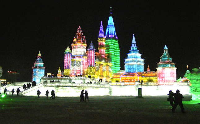 Harbin Ice sculptures at night.Credit@rincewind42.flickr.com