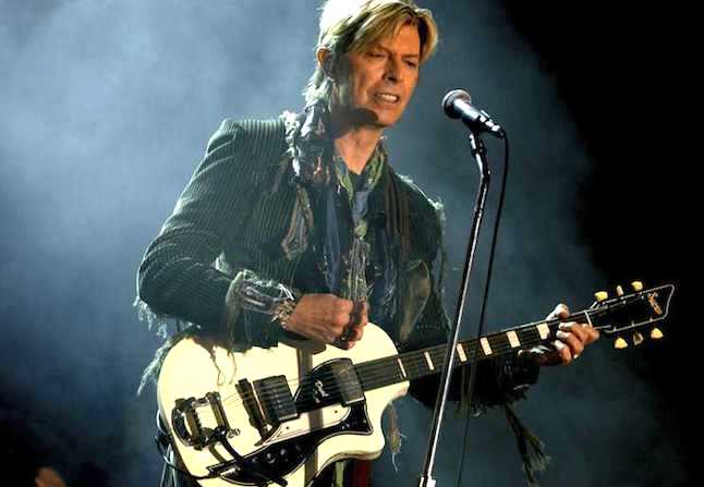 David Bowie on stage at the  Nokia Isle of Wight rock festival in 2004.Credit@MarcLarkin