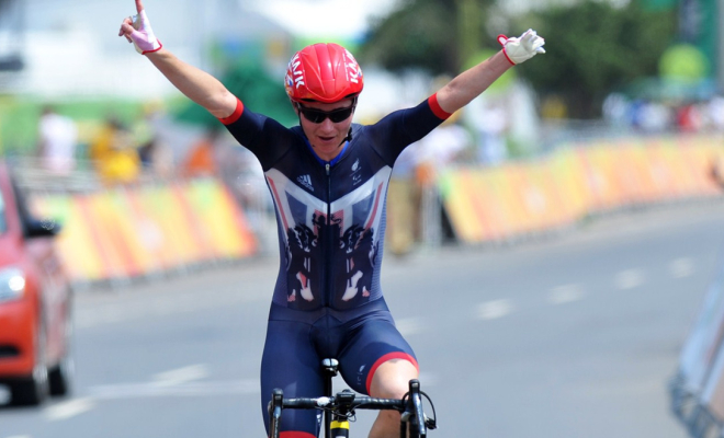 Sarah Storey celebrates winning her third gold medal of the games. Credit @tumblr.com.