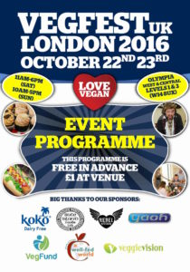VegFestUK 2016 programme. Credit@http-//www.london.vegfest.co.uk