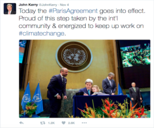 John Kerry Tweets about the Paris Agreement