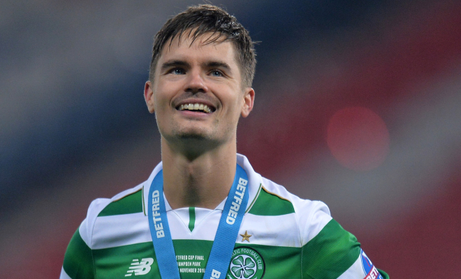 Celtic's Mikael Lustig with his medal after the match. Credit @tumblr.com.