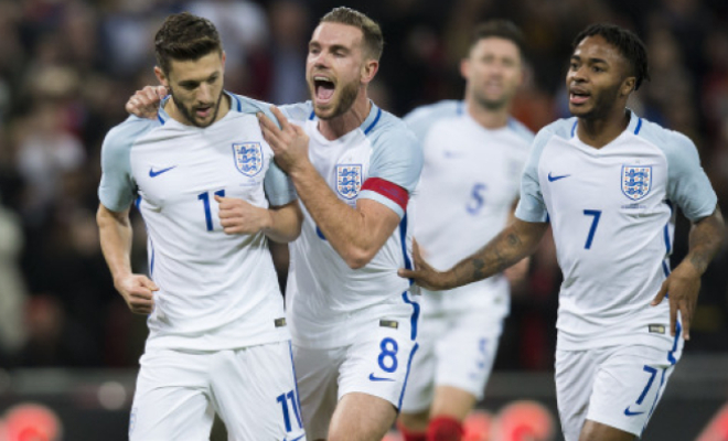 The England players celebrate Adam Lallana's penalty. Credit @tumblr.com.