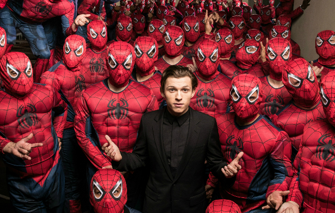 Hollywood, CA - December 8,2016 Tom Holland and an army of Spider-Men invade Hollywood to debut the Columbia Pictures' SPIDER-MAN: HOMECOMING trailer. © 2016 CTMG, Inc. All Rights Reserved