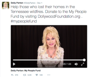 @DollyParton's Tweet re. the Dollywood Foundation