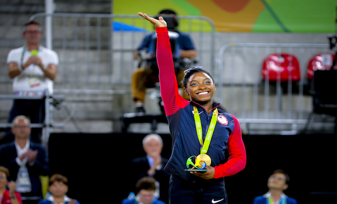 Simone Biles challenging the limits in gymastics. Credit@wikipedia
