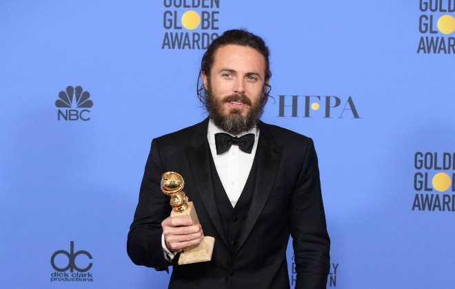 "Casey Affleck winning a Golden Globe for ""Best Performance by an Actor in a Motion Picture Drama"" for his work on Manchester by the Sea. Credit@GoldenGlobeAwards. COPYRIGHT © HOLLYWOOD FOREIGN PRESS ASSOCIATION. ALL RIGHTS RESERVED."