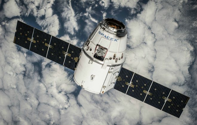 Phoyo of Space X's CRS 4 DRAGON ORBIT orbiting Earth Credit@ 2017 SPACE EXPLORATION TECHNOLOGIES CORP