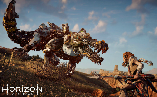 The world of Horizon Zero Dawn is inhabited by mechanised beasts which Aloy encounters on her journey. Credit©2017 Sony Interactive Entertainment Europe Limited. All content, games titles, trade names and or trade dress, trademarks, artwork and associated imagery are trademarks and or copyright material of their respective owners. All rights reserved.