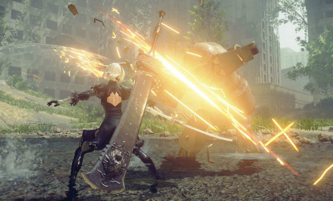 2B is able to perform a range of moves and her abilities are also upgradable Credit@PlatinumGames Inc.
