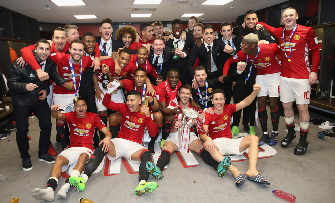 Manchester United celebrate their victory. Credit @tumblr.com.