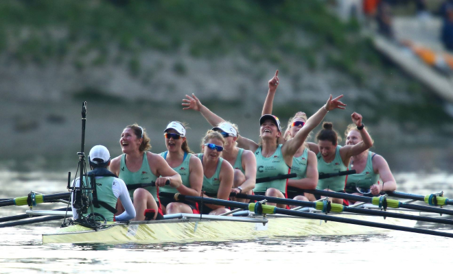 Cambridge women celebrate their first victory versus Oxford since 2012. Credit @theboatrace via Facebook.